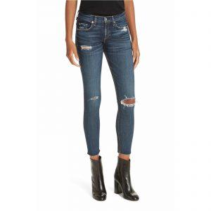 RAG & BONE Ripped Ankle Skinny Jeans