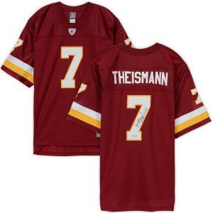 Autographed Washington Redskins Joe Theismann Burgundy Replica Jersey with Inscription